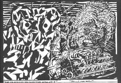 Gary Panter Drawing Referential to new wave of comics and arcades.  He is also a musician. He was a set designer for Pee Wee's Playhouse and also creates cartoons.