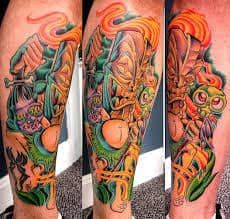 What does tiki tattoo mean? We have tiki tattoo ideas, designs, symbolism and we explain the meaning behind the tattoo. Leg Tattoos, Tattoos For Guys, Cool Tattoos, Tatoos, Tiki House, Paradise Tattoo, Tiki Tattoo, Tatuagem New School, American Tattoos