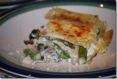My recipe for bacon-asparagus-portabella mushroom lasagna... From Off The Cuff Cooking