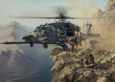 A Black Hawk helicopter of the U. Special Operations Aviation Regiment (SOAR) delivers a team of coalition Special Forces during Operation Anaconda. Military Helicopter, Military Aircraft, Military Art, Military History, Us Army Rangers, Military Drawings, Black Hawk, Military Pictures, Wow Art