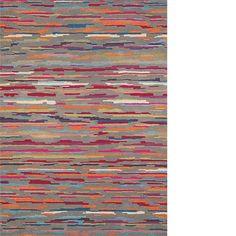 Debenhams Thin Stripe Woollen Greyscale Rug At