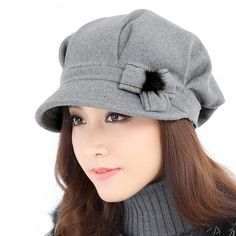 Winter beret hat flower decoration womens hats