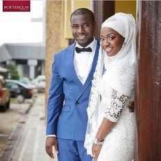 "Muslim Nigerian bride and groom on wedding day wearing white hijab. From @islamicwedding's photo: ""#beautifulcouple#congrat#makeupbymoe#mayAllahblessurhome#Amin"""