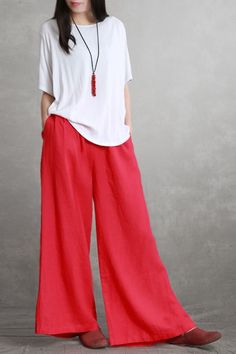Summer Linen Wide-leg Pants Women Casual Loose Trousers K3064 Red Wide Leg Pants, Wide Leg Linen Pants, Linen Trousers, Long Pants, Wide Legs, Loose Pants Outfit, Type Of Pants, Tyga, Couture