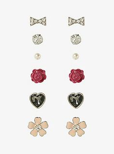 Floral Gemstone Earring Set,