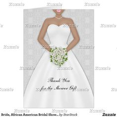 Bride, African American Bridal Shower Thank You Card