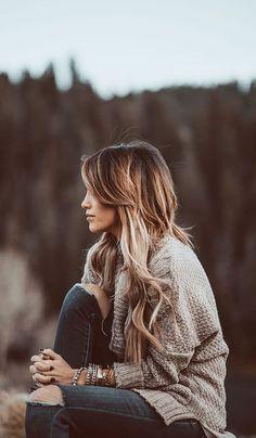 #fall #fashion / gray knit + denim. I WANT THIS HAIR