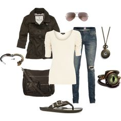 """""""casual steampunk"""" by kristinbrianne on Polyvore.  Closer to the level of steampunk I think I could pull off."""