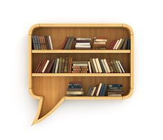 Concept of training. Wooden bookshelf full of books in form of dialog.