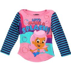 """Nick Jr. Bubble Guppies """"Let's Make a Splash"""" Pink Toddler Glittered t shirt with images on front and back!"""