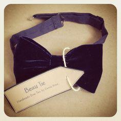 Mens Velvet Handmade Bowtie in Deep Navy/Midnight by BeauBowTies, £24.00