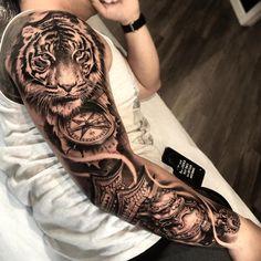 tattoo old school tattoo arm tattoo tattoo tattoos tattoo antebrazo arm sleeve tattoo Tiger Tattoo Sleeve, Lion Tattoo Sleeves, Arm Sleeve Tattoos, Head Tattoos, Tattoo Sleeve Designs, Finger Tattoos, Tattoo Designs Men, Body Art Tattoos, Full Arm Tattoos