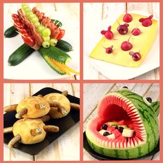 Gesunde Party-Snacks zum Kindergeburtstag - My list of the most healthy food recipes Healthy Party Snacks, Snack Recipes, Bug Snacks, Kids Party Snacks, Healthy Kids, Cute Food, Good Food, Vegetable Snacks, Vegetable Animals