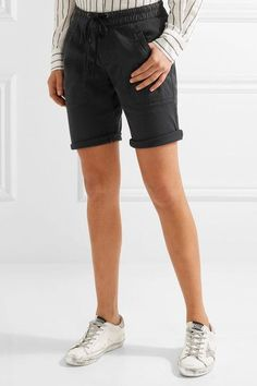 James Perse - Stretch Cotton And Modal-blend Twill Shorts - Charcoal - 0