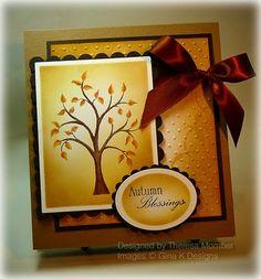 Fall handmade card, splitcoaststampers #distress ink #spellbinder