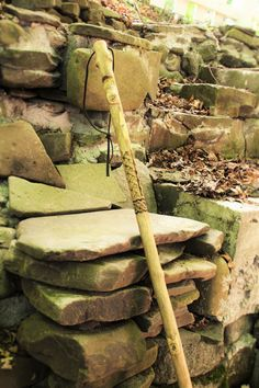 hand carved  hiking staff w/celtic braid by StoneSoupTreasures