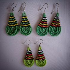 Items similar to Beautiful African Beaded Drop Earrings - Green Multicolour on Etsy African Earrings, African Beads, Drop Earrings, Creative, Green, Handmade, Etsy, Accessories, Vintage