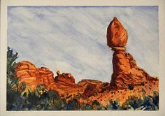 Arches National Park Watercolor Painting  Don West - Idle Minutes