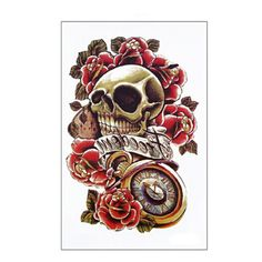 4PC Waterproof Tattoos Punk Skull Temporary Tattoos - goes great with polka dots - Polka Dotted All The Things Boutique