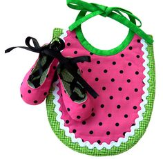 BABY GIFT SET Watermelon Bib and Matching Baby Ballet