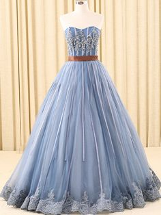 A-line Sweetheart Floor-Length Tulle Ink Blue Prom Dresses With Rhine Stones ASD26932