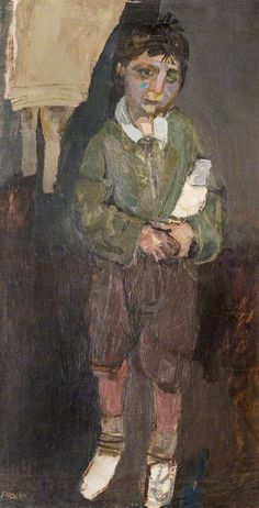 Joan Eardley (England 1921-1963 Scotland), Glasgow Boy with a Milk Bottle, oil/canvas laid on board, 1948. Eardley trained in London and in Glasgow, where she settled. Her portraits of children from the Townhead tenements are powerful character studies, painted with great compassion which expose the reality of child poverty in post-war Britain. Collection Herbert Art Gallery & Museum, Coventry, England.