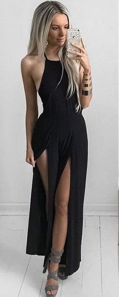 45 Trendy Summer Outfits To Copy Right Now - Maxi Black Dress @roressclothes closet ideas #women fashion outfit #clothing style apparel