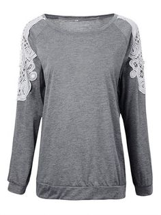 Loose Women Stitching Hollow Out Lace Sleeve T-Shirt