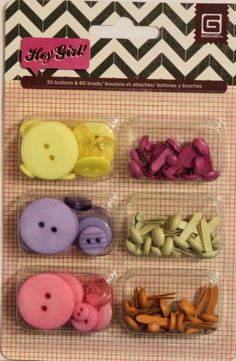 Basic Grey Hey Girl Buttons & Brads Combo Embellishments Pack is available at Scrapbookfare.