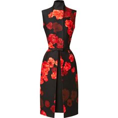 Giambattista Valli Wool-Blend Floral Printed Dress (6.840 RON) ❤ liked on Polyvore featuring dresses, red, vestidos, red pencil dress, pencil dress, red high neck dress, floral print dress and red sleeveless dress