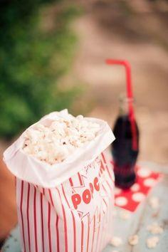 50s inspired popcorn bag