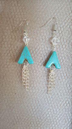 Turquoise Magnesite, Crystal Bead Dangle Earrings, stocking stuffer by MamaPajamaJan on Etsy