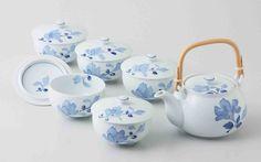 Tokyo Matcha Selection - [Value] Hasami Porcelain : BLUE FLOWER - Kyusu Tea pot