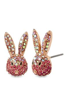 Betsey Johnson Rose Gold-Tone Celestial Rose Gold and Pink Bunny Stud Earrings