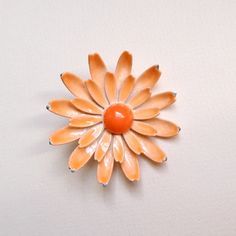 vintage orange daisy brooch by sparklhaus on Etsy