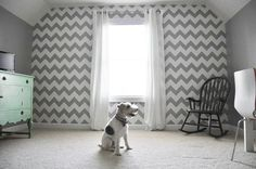 Modern Chevron Wall Stencil on Wall | Project by Michelle from Decor and the Dog