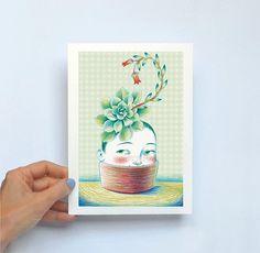 Lámina ilustrada Echeveria Ilustración botánica para