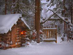 casa de invierno pequeño wallpaper