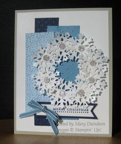 like the layered blues and snowflake wreath