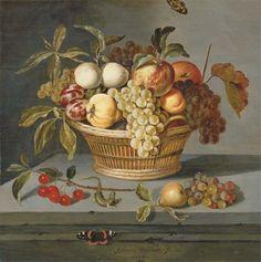 Ambrosius Bosschaert (de Oude???), Druiven, met een peer, een abrikoos, appels en pruimen in een gevlocten mand met een kersentakje, hagedis en een rode vlinder op een stenen richel.