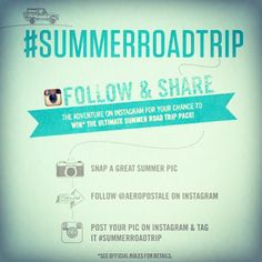 We're giving away the ultimate Summer Road Trip Prize Pack including an Apple iPad, Aero Shopping Spree, Concert Tickets & more! Snap a summer pic, follow @Aéropostale on Instagram, and tag it #summerroadtrip to enter!* 15 winners, a winner everyday now thru 5/26! *See rules for details: http://on.fb.me/18wUVU1