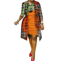 African cotton wax Print Dress and Suit Coat for Women – Afrinspiration Latest African Fashion Dresses, African Dresses For Women, African Attire, African Wear, African Women, African Clothes, African Lace, African Print Dress Designs, African Print Dresses