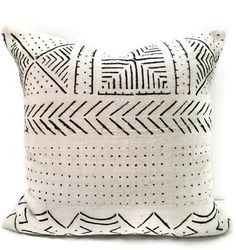 African Mud cloth Pillow Cover, Ethnic, Handwoven, Black and Cream, Tribal
