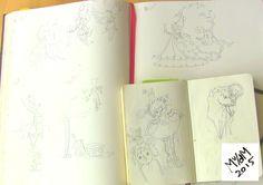 De eerste schetsen ooit van Pien & haar wereld! Schetsen voor kinderboek PIEN, Myrthe v/d Meer (voorjaar 2016)