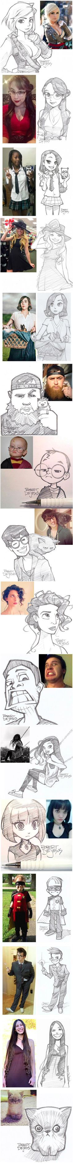People and their cartoon versions...