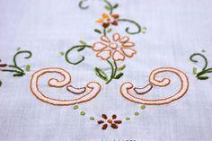 Vintage cotton Window Panel Decor floral pattern flower by Retroom