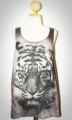Tiger Face Charcoal Black Singlet Tank Top Photo Art Punk Rock Pop Animal T-Shirt Size L