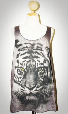 Tiger Face Charcoal Black Singlet Tank Top Photo Art Punk Rock Pop Animal…