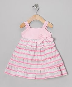 This Light Pink Stripe Bow Organic Dress - Infant & Toddler is perfect! #zulilyfinds