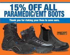 Use promo code WBWPARAEMT121515 to save 15% on paramedics boots at http://www.workbootworld.com/collections/paramedic-and-ems-boots